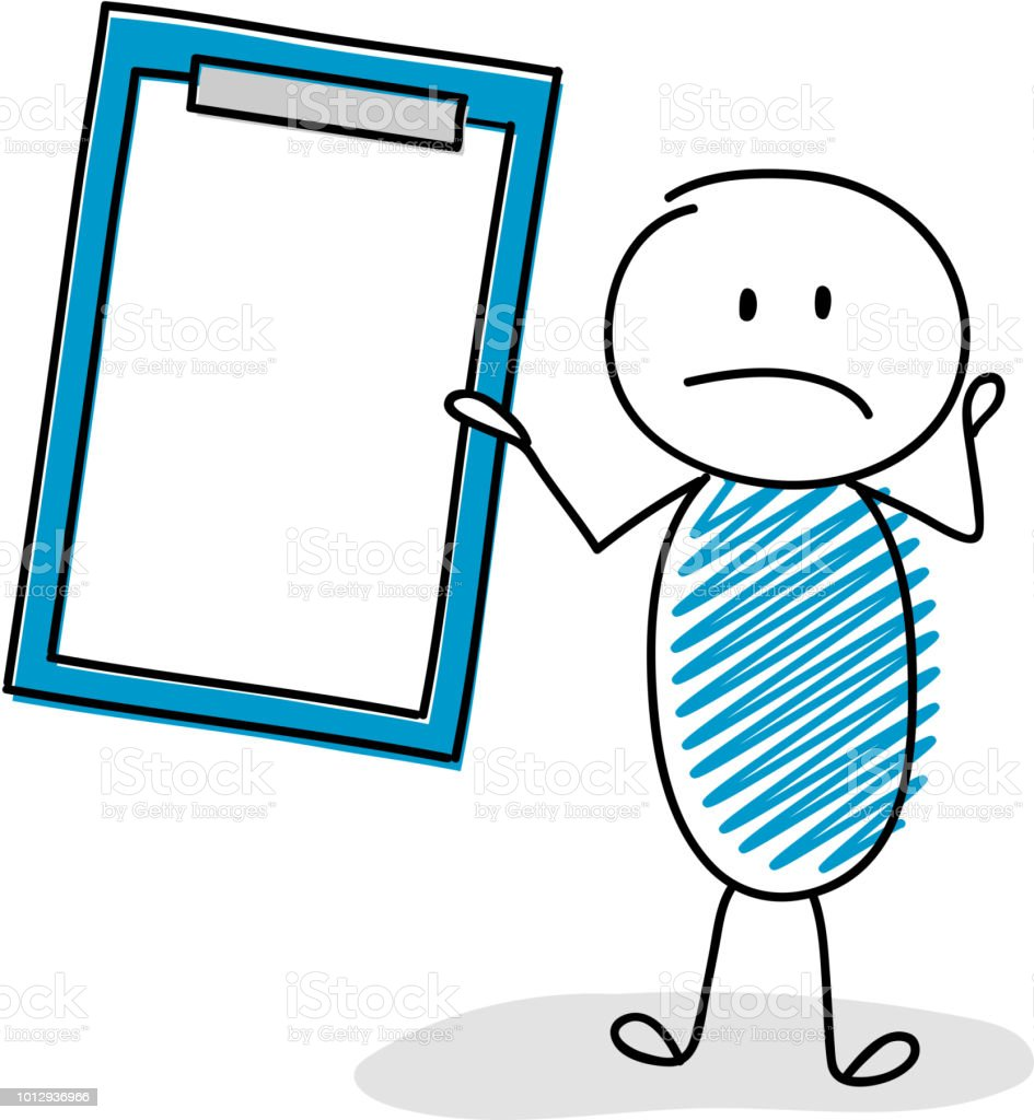 Sad stickman with hand drawn clipboard. Vector. vector art illustration