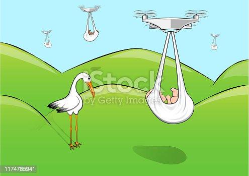 sad stork and quadcopters deliver babies, horizontal vector illustration