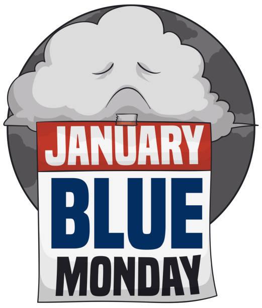 stockillustraties, clipart, cartoons en iconen met triest stormachtige wolk met kalender voor blauwe maandag - blue monday