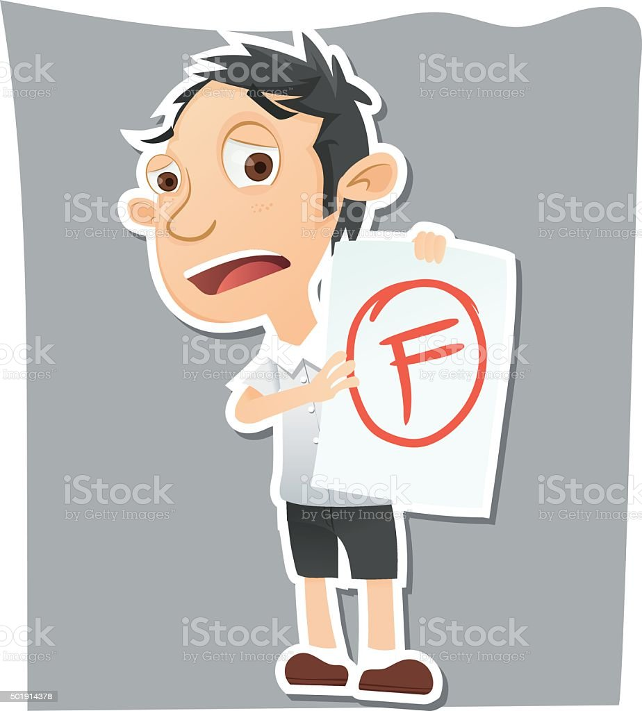 sad student showing paper with F grade vector art illustration