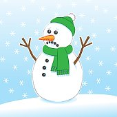 Sad Surprised Snowman wearing Green Scarf and Hat