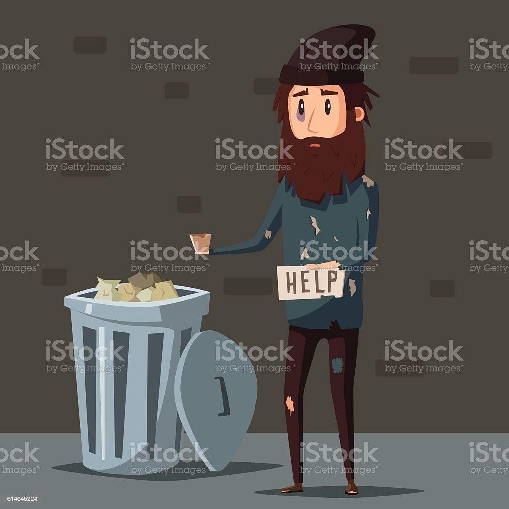 Sad unemployed beggar. Cartoon vector illustration vector art illustration