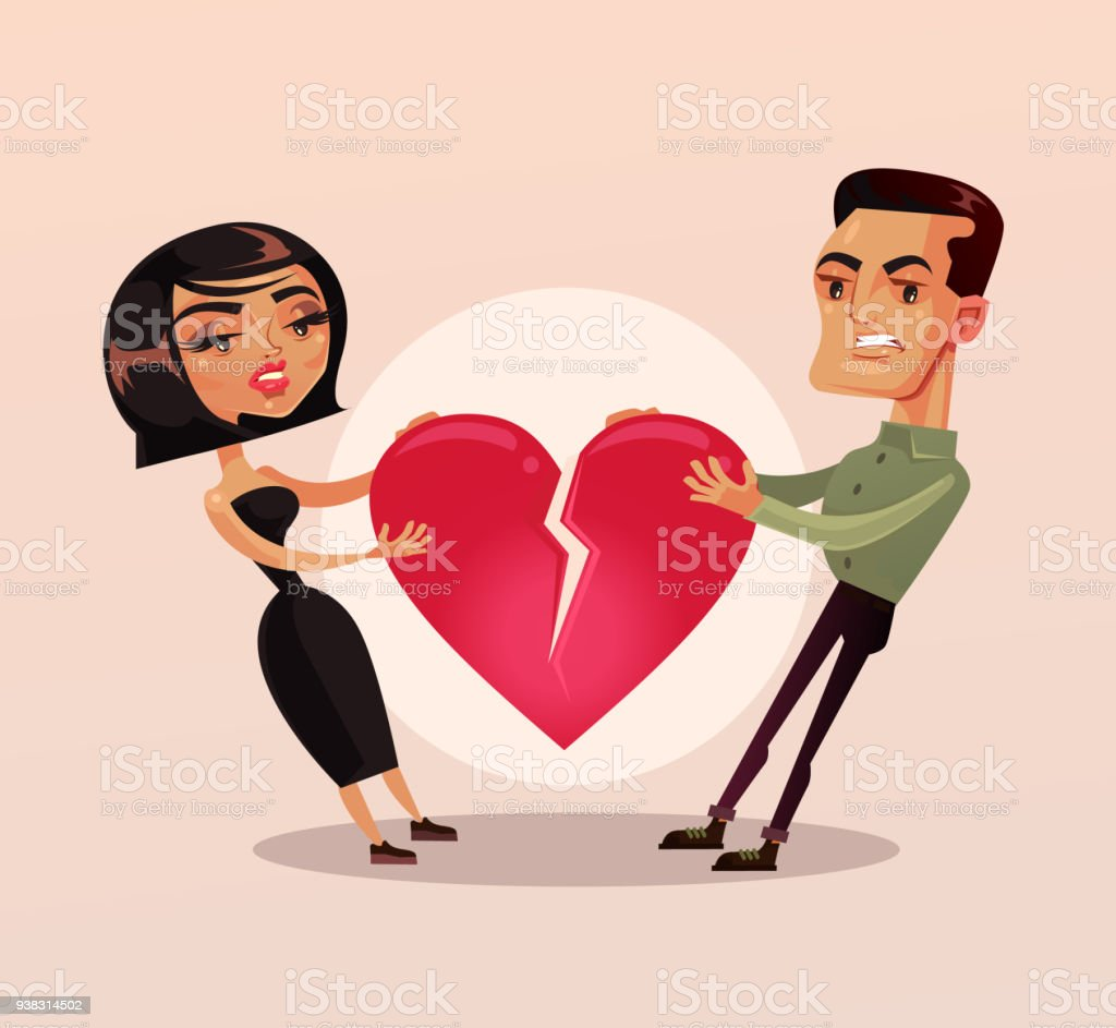 Sad unhappy couple man and woman family wife and husband character quarrel and pulling heart and broke. Relationship problems separation lovers misunderstanding vector art illustration