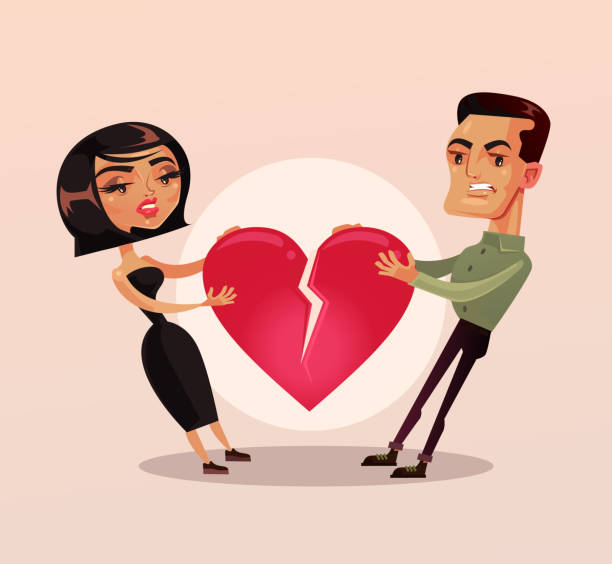 Sad unhappy couple man and woman family wife and husband character quarrel and pulling heart and broke. Relationship problems separation lovers misunderstanding Sad unhappy couple man and woman family wife and husband character quarrel and pulling heart and broke. Relationship problems separation lovers misunderstanding. Vector flat cartoon isolated illustration former stock illustrations