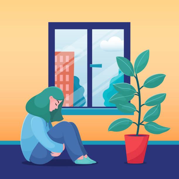 illustrations, cliparts, dessins animés et icônes de fille triste, malheureuse, femme assis la maison tout seul - femme seule s'enlacer