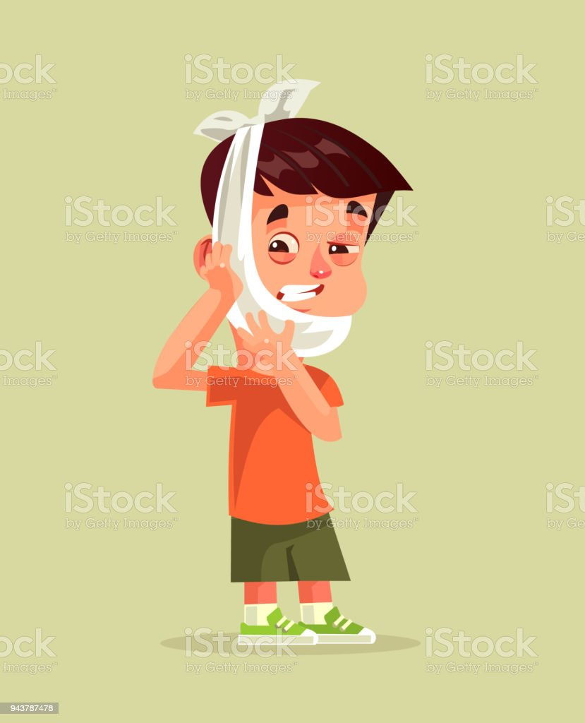 Sad unhappy little boy with suffering face expression holding head with hand. Toothache dental pain patient somatology treatment caries broken tooth ache concept. Vector flat cartoon graphic design isolated illustration vector art illustration