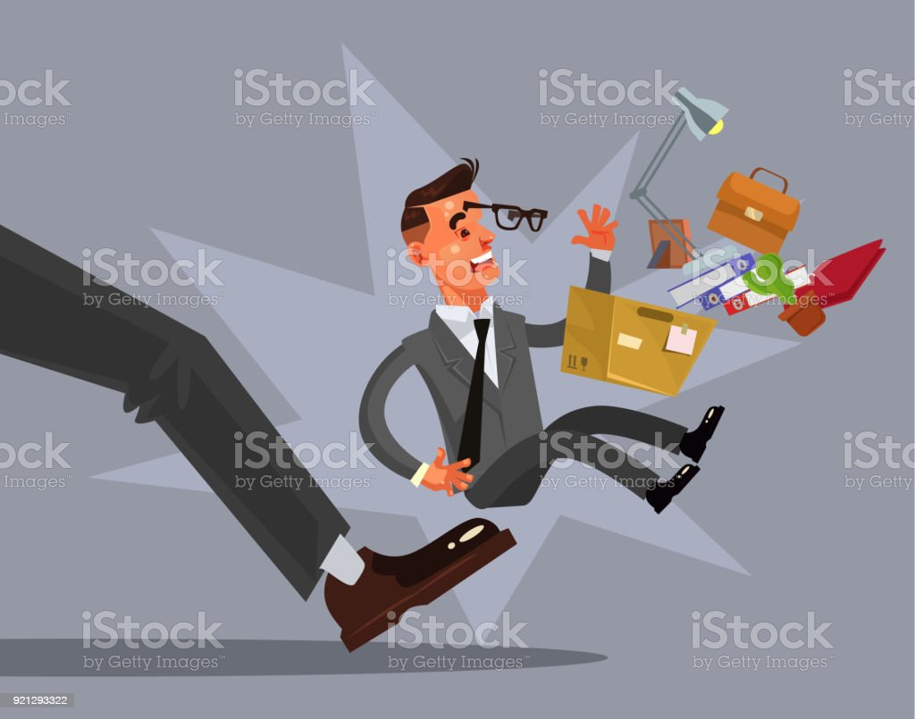 Sad unhappy looser fired man character from work vector art illustration