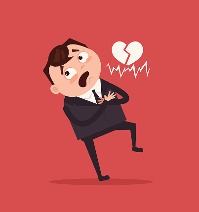 Sad unhappy office worker business man character have heart attack
