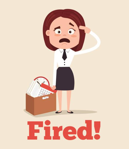 Royalty free employee leaving clip art vector images sad unhappy office worker woman character fired from job and leaving office with box vector art sciox Image collections