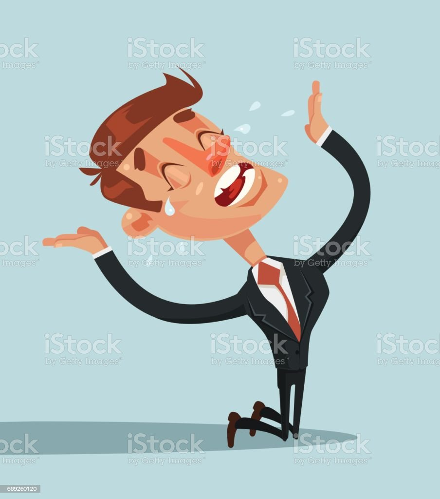 Sad unhappy screaming and crying businessman office worker manager standing on his knees and prey vector art illustration