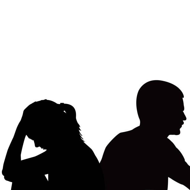 問題を持っている悲しい不幸な若いカップル - 夫婦点のイラスト素材/クリップアート素材/マンガ素材/アイコン素材