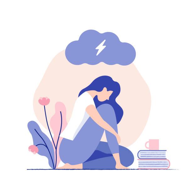 stockillustraties, clipart, cartoons en iconen met droevige, ongelukkige jonge vrouw die onder donkere wolk zit. psychologie, depressie, slecht humeur, stress. - geestelijk welzijn