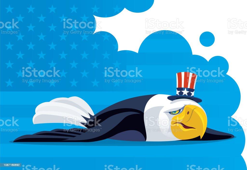 sad USA bald eagle lying on floor vector art illustration