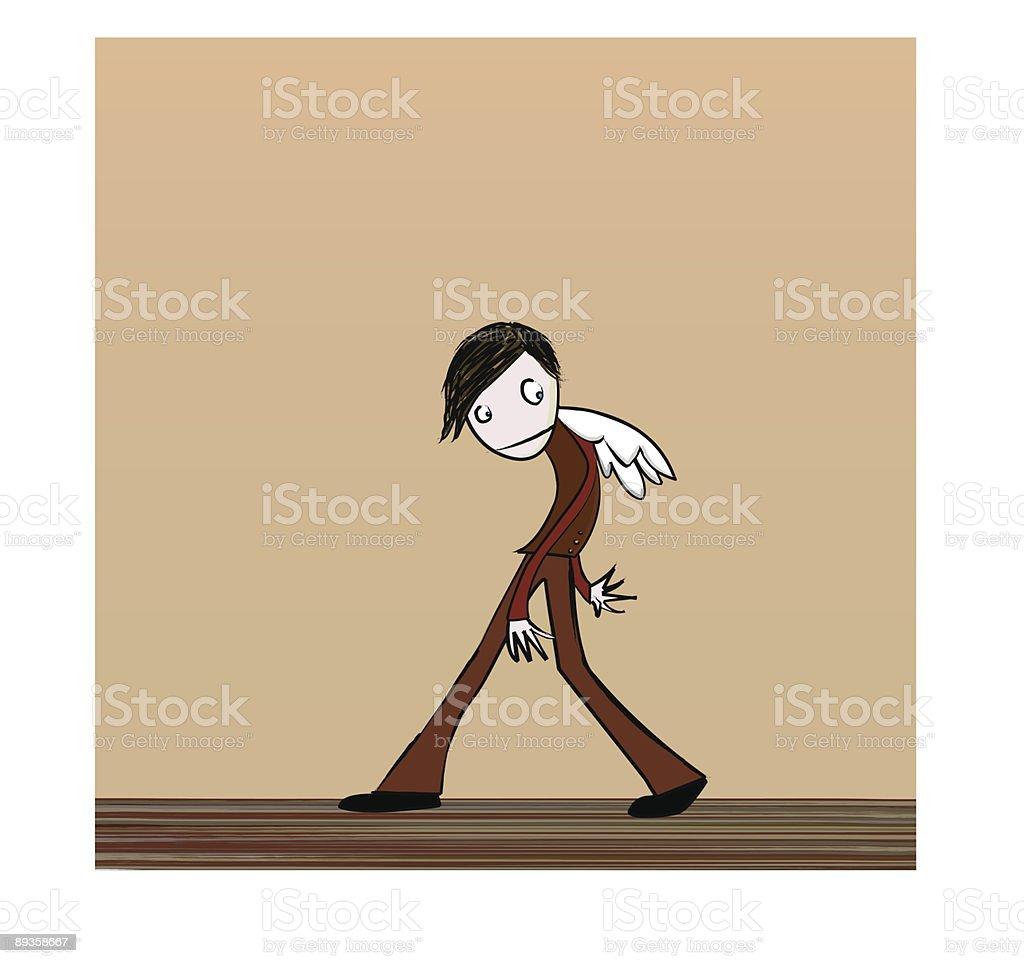 Sad walking boy with wings royalty-free stock vector art