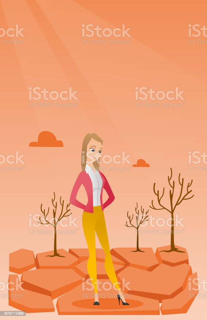 Sad woman in the desert vector illustration royalty-free sad woman in the desert vector illustration stock vector art & more images of ana tree