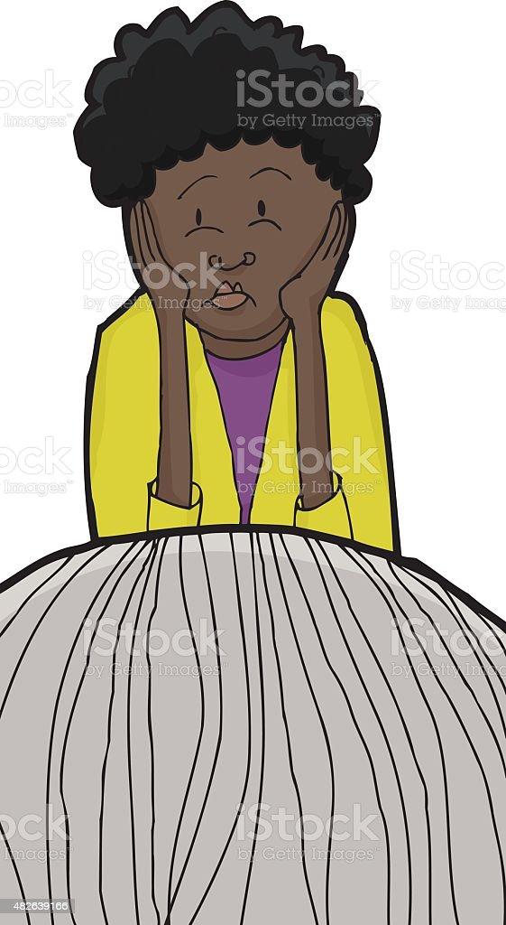 Sad Woman Listening to Friend vector art illustration