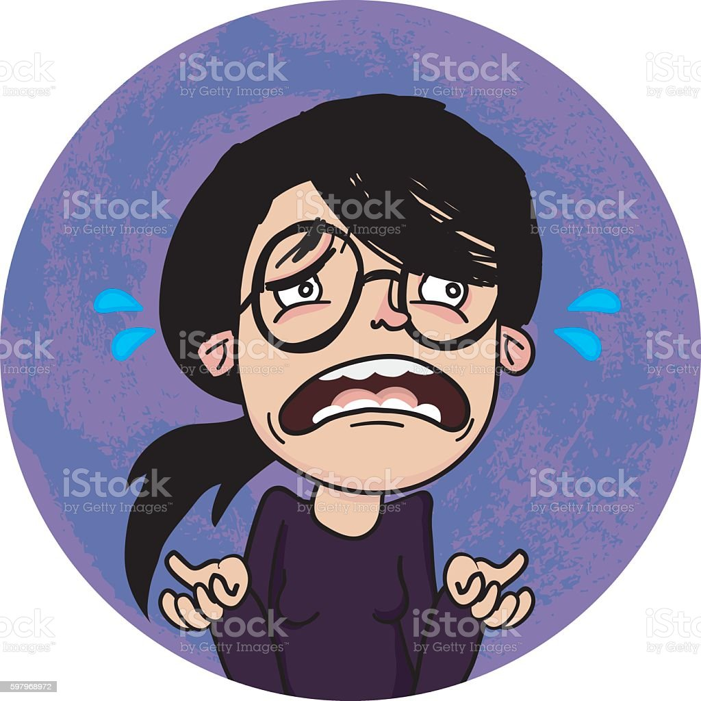 Sad Woman vector art illustration