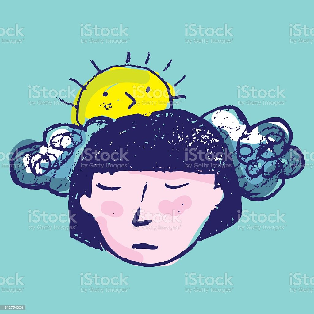 Sad woman's face with sun and clouds vector art illustration