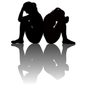 Sad women silhouettes with shadow
