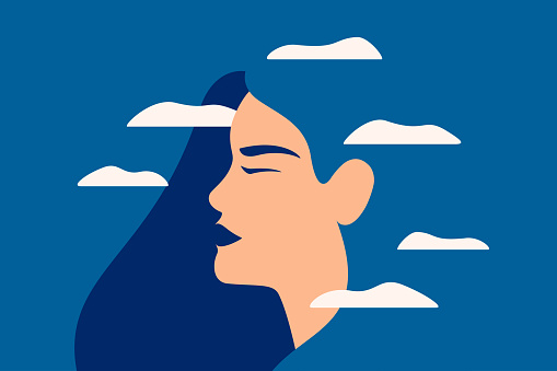 A sad young woman has a clouded mind on blue background. A depressed girl suffers from temporary memory loss and confusion. Vector illustration