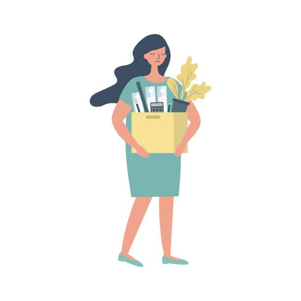 사무용품을 들고 있는 슬픈 청녀. 개념: 직원이 해고되어 직장을 잃었습니다. - lost stock illustrations