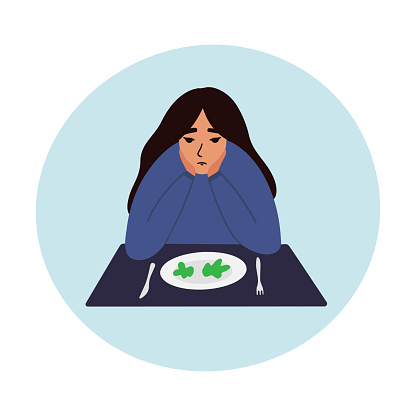 Sad young woman looking at empty plate vector illustration.