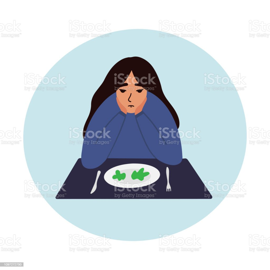 Sad young woman looking at empty plate vector illustration. vector art illustration