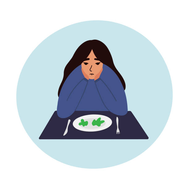 Sad young woman looking at empty plate vector illustration. Danger of diets and anorexia vector concept. EPS 10 anorexia nervosa stock illustrations