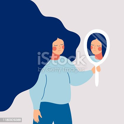 Sad young woman looks on her reflection in mirror with sorrow. Cartoon flat style