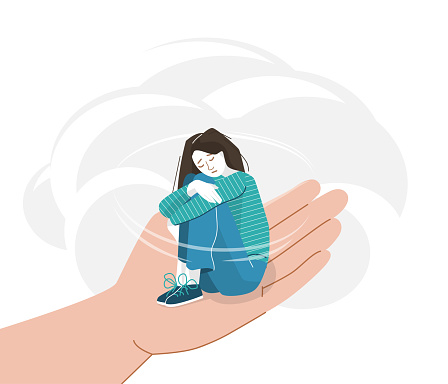Sad young woman with lowered head hugging herself with her hands on her knees. Anxiety girl sitting on a helping hand. Help concept vector illustration