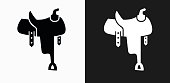 Saddle Icon on Black and White Vector Backgrounds