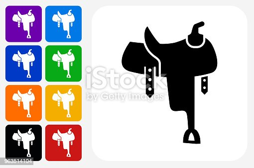Saddle Icon Square Button Set. The icon is in black on a white square with rounded corners. The are eight alternative button options on the left in purple, blue, navy, green, orange, yellow, black and red colors. The icon is in white against these vibrant backgrounds. The illustration is flat and will work well both online and in print.