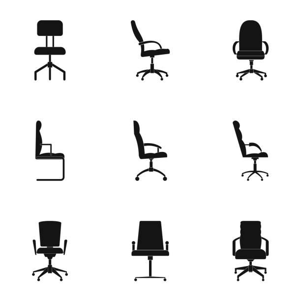 sattel icons set, einfachen stil - schultischrenovierung stock-grafiken, -clipart, -cartoons und -symbole
