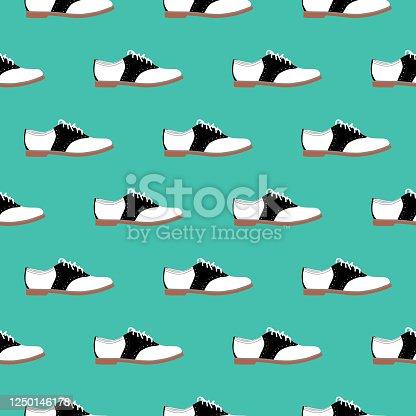 istock Saddle Shoes Seamless Pattern 1250146178
