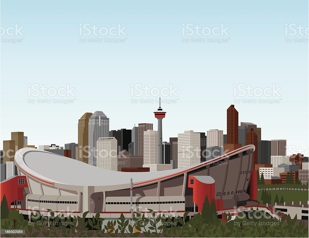 Saddledome and Downtown Calgary royalty-free stock vector art
