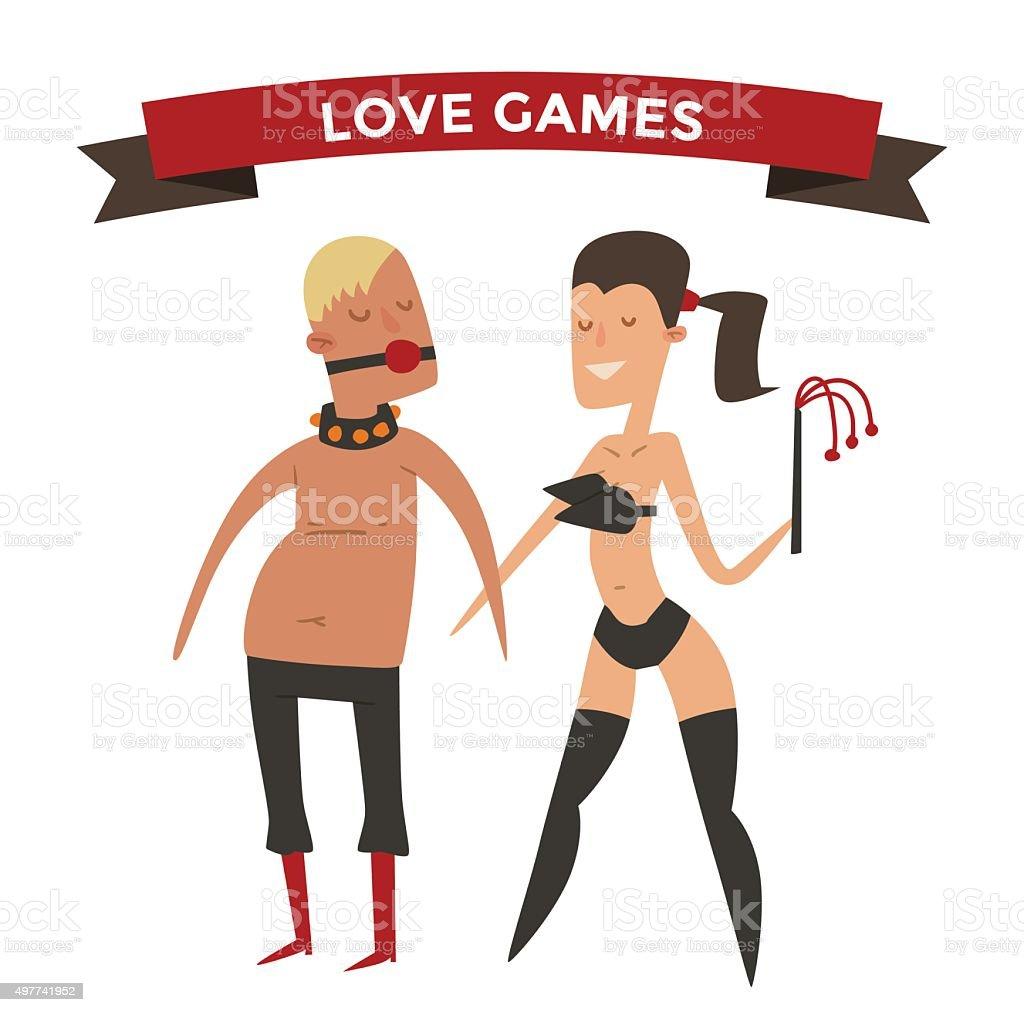 Sadism woman and man cartoon vector illsutration vector art illustration