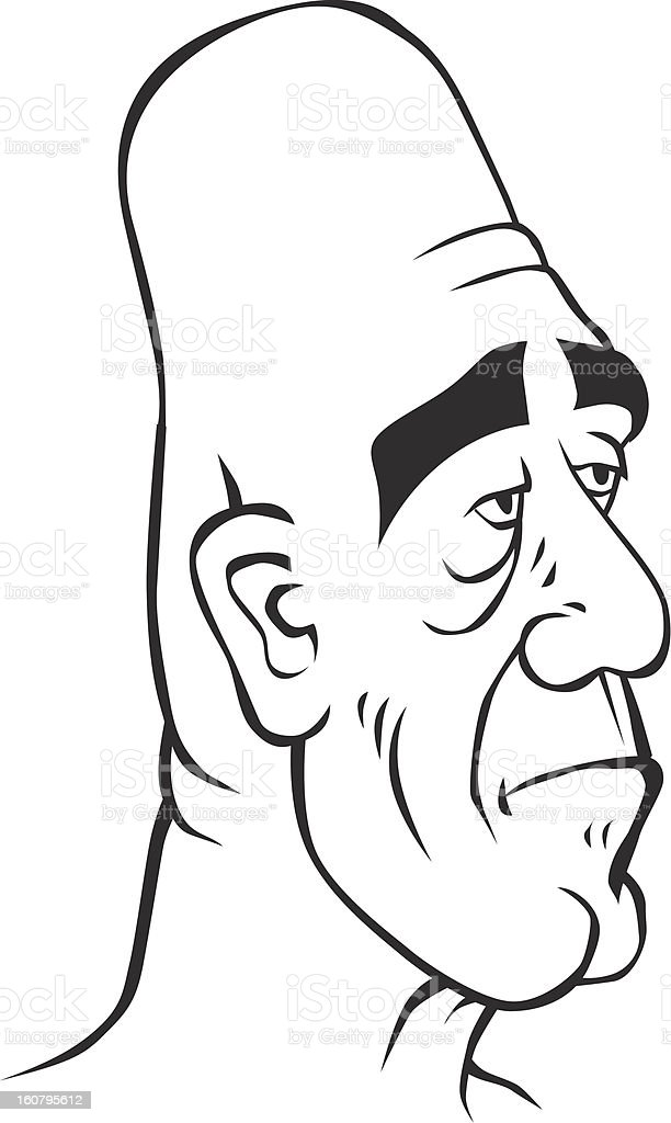 sad-looking man vector art illustration