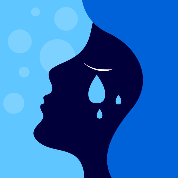 sadness, girl crying Depression, sadness, girl crying, tears on her cheek, vector profile of sad woman teardrop stock illustrations