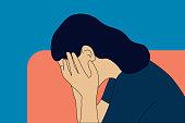 Sadness, pain, negative emotion, emotional problems concept vector illustration.