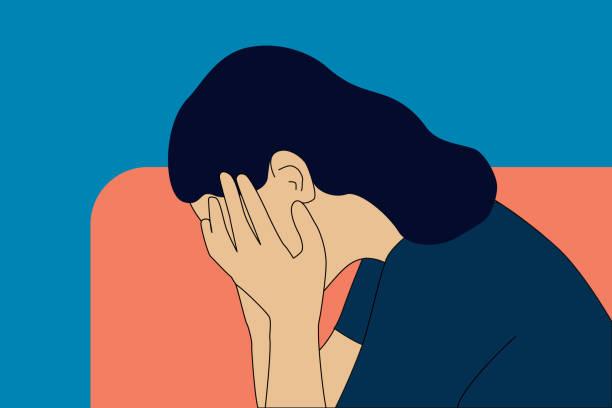 Sadness, pain, negative emotion, emotional problems concept vector illustration. vector art illustration