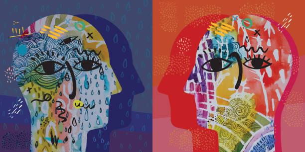 Traurigkeit VS Glück – Vektorgrafik