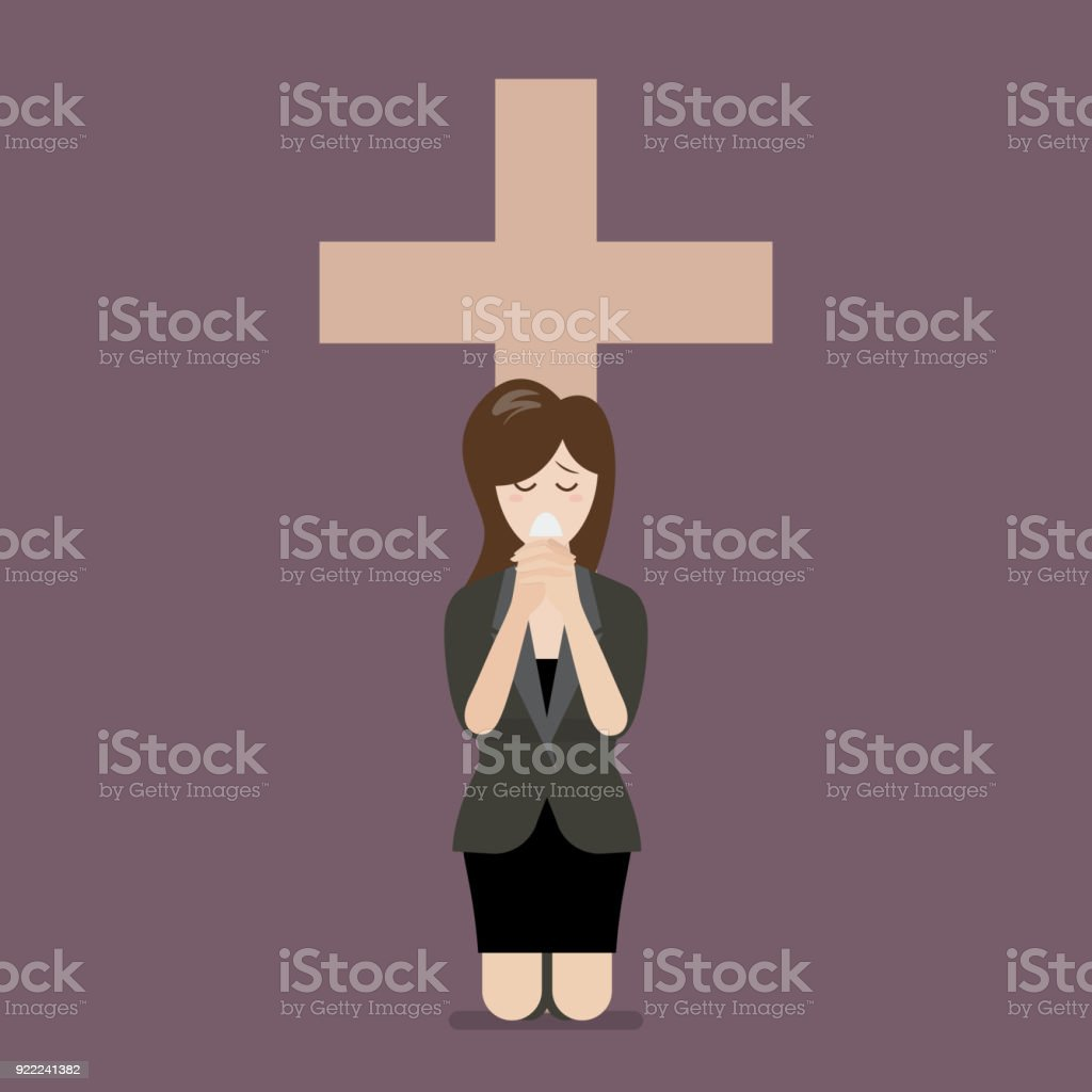 Sadness woman is on her knees and prays to god vector art illustration