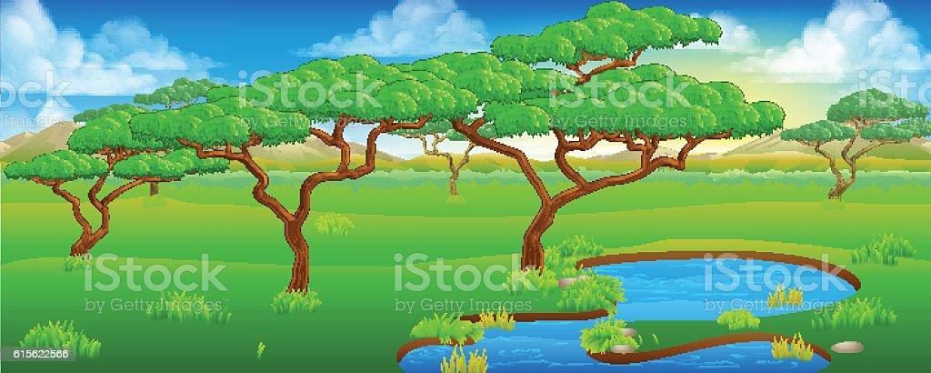 Safari African Savannah Scene Landscape vector art illustration