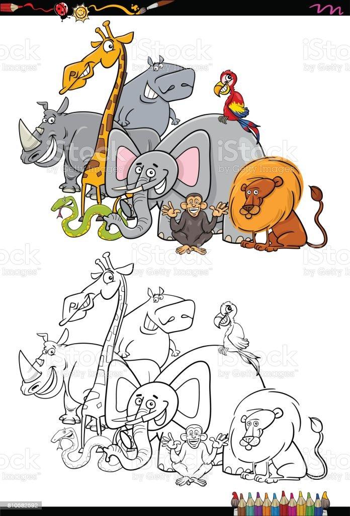 Ilustración de Personajes Animales Safari Libro Para Colorear y más ...