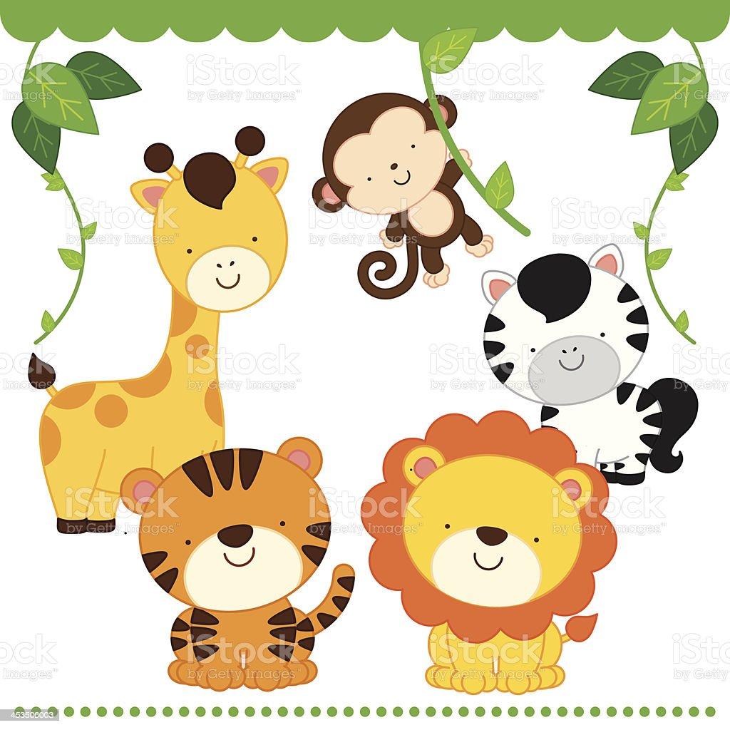 Cartoon frames with baby animals vectors XLminas Cards