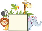 Safari Animals Behind A Blank Sign With Leaves