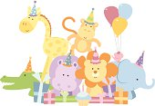 A vector illustration of a group of cute safari animals (giraffe, elephant, hippo, lion, monkey, bird and crocodile) ready for a birthday party. Objects are grouped and layered for easy editing. Global colors used. Files included: AICS5, EPS8 and Large High Res JPG.