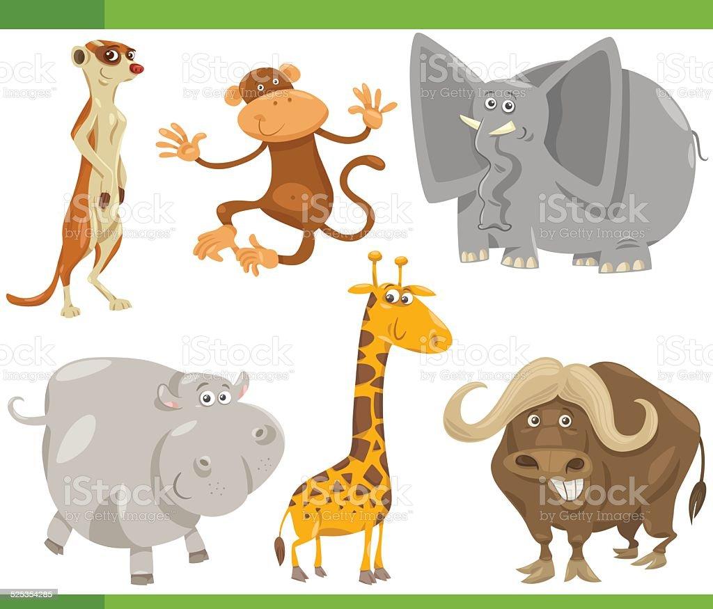 サファリ動物イラストセットイラストレーション - おとぎ話のベクター