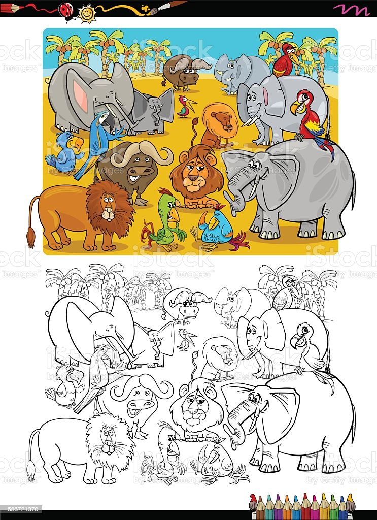 Animales De Safari Libro Para Colorear - Arte vectorial de stock y ...