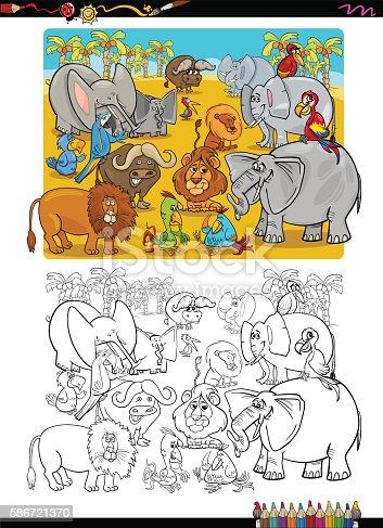 Animales De Safari Libro Para Colorear - Arte vectorial de stock y ...